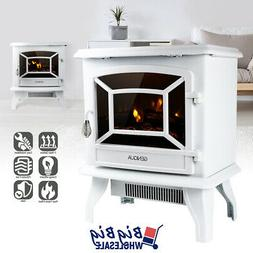 "1400W 17"" Freestanding White Electric Fireplace Heater Stove"