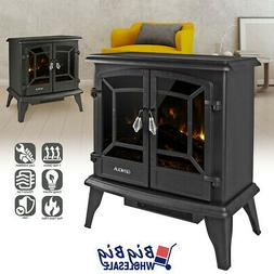 "1400W 20"" Freestanding Electric Fireplace Heater Stove Black"