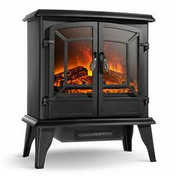 "20"" Infrared Quartz Electric Fireplace Heater 1400W 2 Drs St"