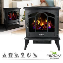 "20"" Electric Fireplace Heater Freestanding Remote Adjust Log"