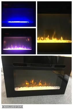 """26"""" Black Electric Fireplace Heater Tempered Glass Panel Cry"""