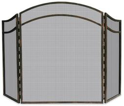 3-Fold Wrought Iron Arched Top Screen in Antique Rust Finish