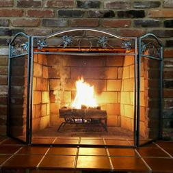 Fireplace Screen 3 Panel Pewter Wrought Iron Folding Door So