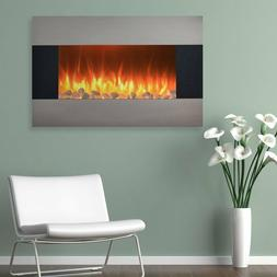 "35"" Stainless Steel Wall Mount Fireplace Electric Heater Hom"