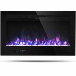 """36"""" Electric Fireplace Recessed and Wall Mounted 750W/1500W"""
