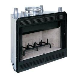 36 Louvered Wood Burning Fireplace w/White Stacked Refractor