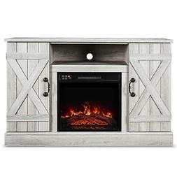 "46"" Rustic Wood TV Stand Fireplace Heater Living Room Storag"