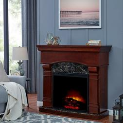 """47"""" Wood Electric Fireplace Mantle Heater Stand LED Flames D"""