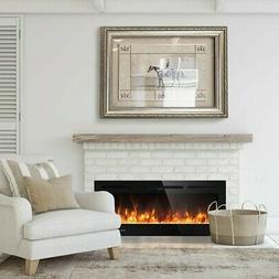 "50"" Electric Fireplace Recessed Ultra Thin Wall Mounted Heat"