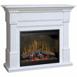 """Bowery Hill 55"""" Electric Fireplace Mantel in White"""