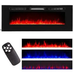 "60"" Contemporary Electric Fireplace Wall Mounted Heater Mult"