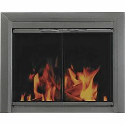 Pleasant Hearth CR-3401 Craton Fireplace Glass Door, Gunmeta