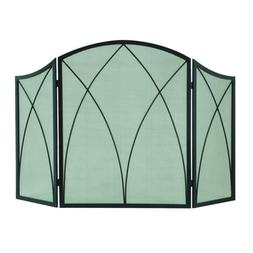 Pleasant Hearth Arched 3-Panel Fireplace Screen Folding Mesh
