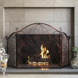 BCP 3-Panel Wrought Iron Metal Fireplace Screen Cover - Anti