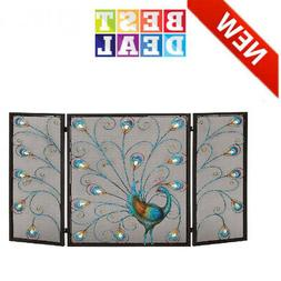 Colorful Metal Fireplace Screen Will Enliven Your Living Roo