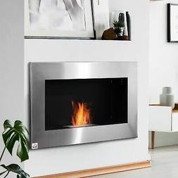 Contemporary Wall Mounted Ventless Bio Ethanol Fireplace Sta