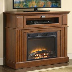Corner Electric Fireplace with Mantle Storage Shelf Heater L