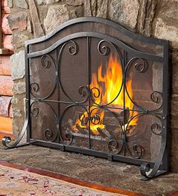 Small Crest Flat Guard Fireplace Screen, Solid Wrought Iron