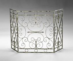 Decorative Iron Fireplace Screen Scrolled Metal Antique Whit