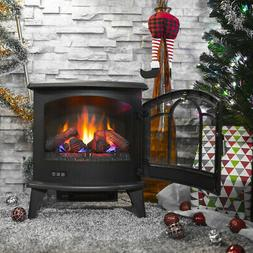 Electric 1400W Fireplace Heater Fire Flame Stove Wood Free S