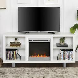Electric Fireplace 70 TV Stand Entertainment Media Center Wh