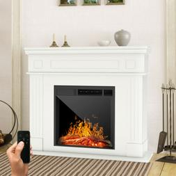 Electric Fireplace Heater w/ Wood Mantel Cabinet Remote Cont
