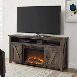 Electric Fireplace TV Stand Rustic Oak Entertainment Center