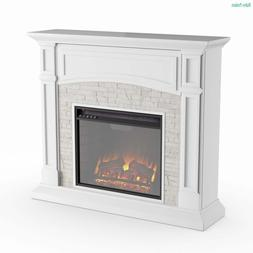 Electric Media Fireplace Storage TV Stand White Faux Stone S