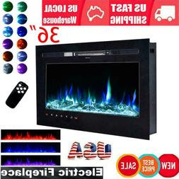 """Embedded 36"""" Electric Fireplace Insert Heater Log Flame w/ R"""