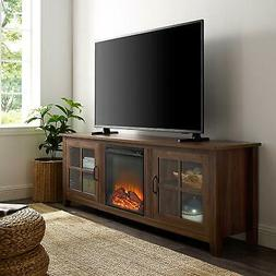 "WE Furniture Fireplace TV Stand 70"" Dark Walnut"