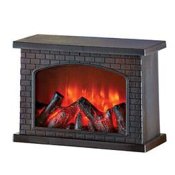 Faux Brick Tabletop Fireplace with Mantle and Realistic-Look