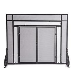 Small Fireplace Screen with Hinged Magnetic Doors, Tubular S