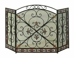 Fireplace Screen By Deco 79 Metal Fire Screen, 52 By 31 Mesh