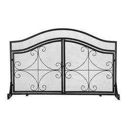 Fireplace Screen w/Magnetic Door Solid Wrought Iron Frame wi