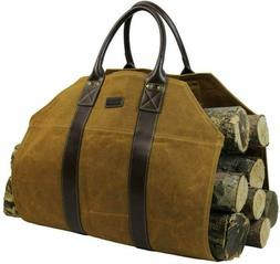 Firewood Log Carrier Bag Waxed Canvas for Fireplace Stove Ac
