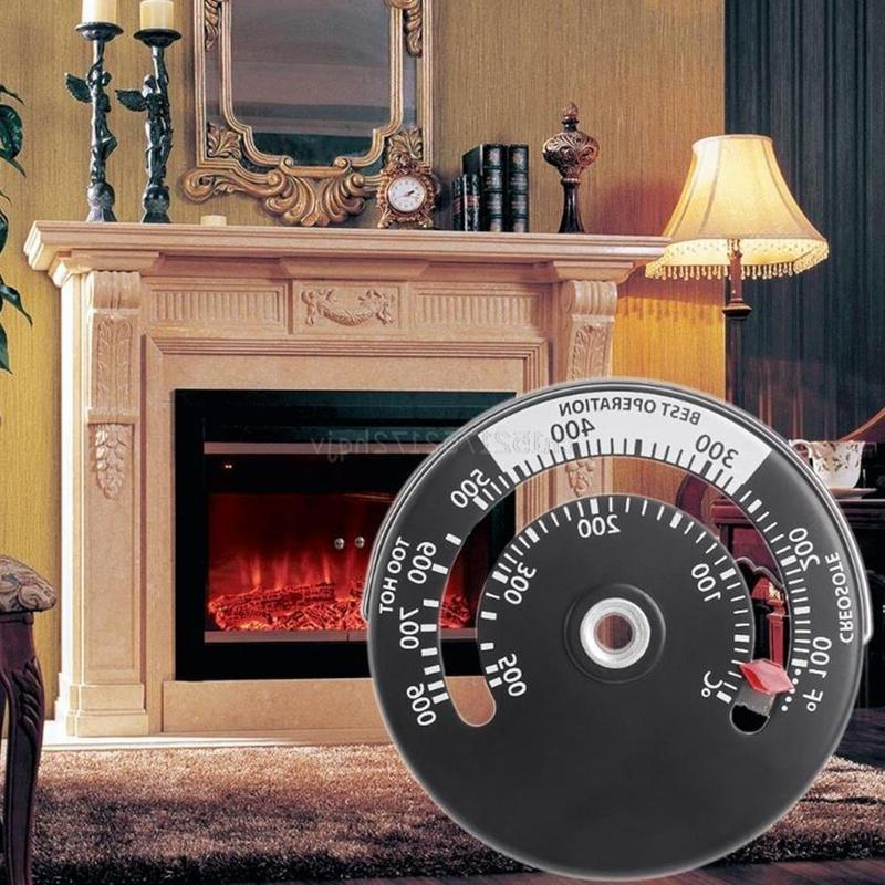 1 Pc Thermometer Wood Log Burning Pipe Fire Heater Aluminum Adsorption
