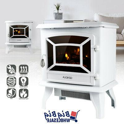 1400w 17 freestanding white electric fireplace heater