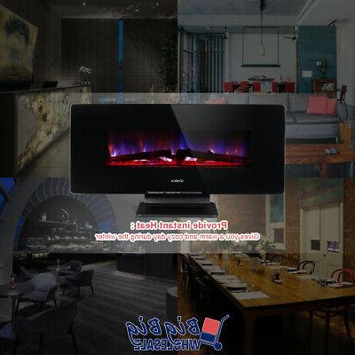 "1400W 42"" Mount/Free Standing Electric Fireplace Heater 7Color LED +Remote"