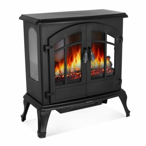 1500W Electric Heater Wood Fire Adjustable