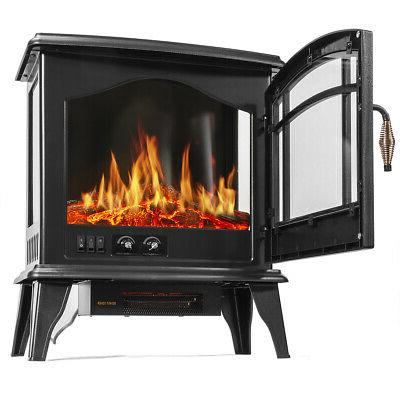 1500W Portable Space Heater Log Flame Stove Free