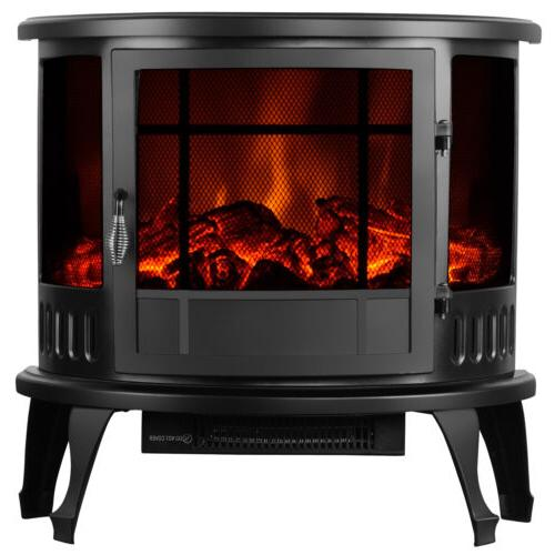 """Kenwell 23"""" Electric Fireplace Stove 1500W Heater Realistic"""