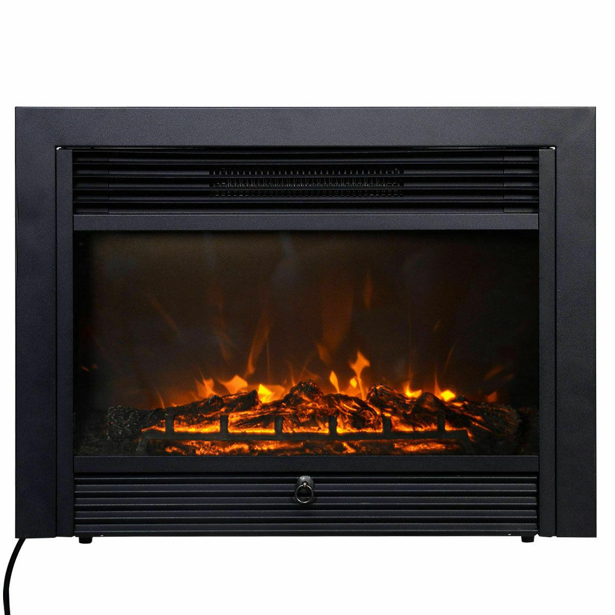 28.5'' Fireplace Insert Glass Flame Remote Easy