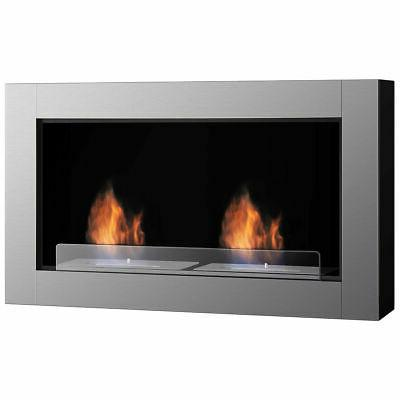 "38"" Wall Mounted Bio-Ethanol Fireplace Ventless Dual Burner"
