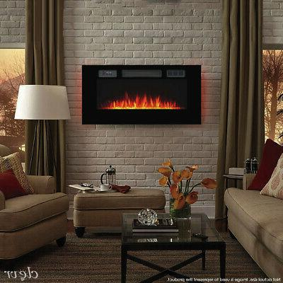39 wall mount recessed electric fireplace heater