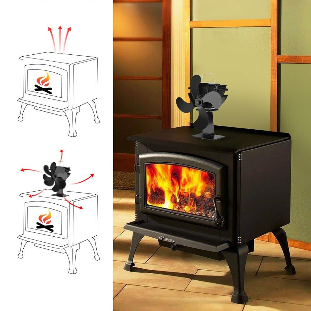 4 Blade Powered Wood Burner Eco Friendly Quiet Fan Home Efficient Heat