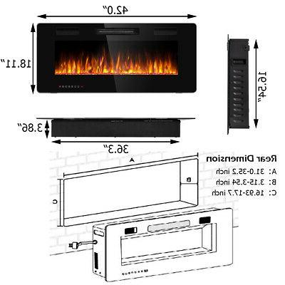 """42"""" Mounted Electric Fireplace Recessed Thin Multicolor Flame"""