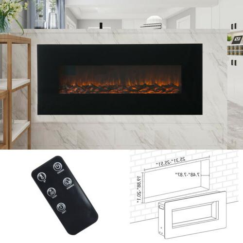 "50"" Mounted Electric Fireplace Heater Flame w/ Remote Control"