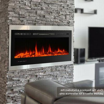 Electric Fireplace Wall Mount flame Adjustable Heating Black