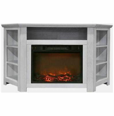 56 in electric corner fireplace in white