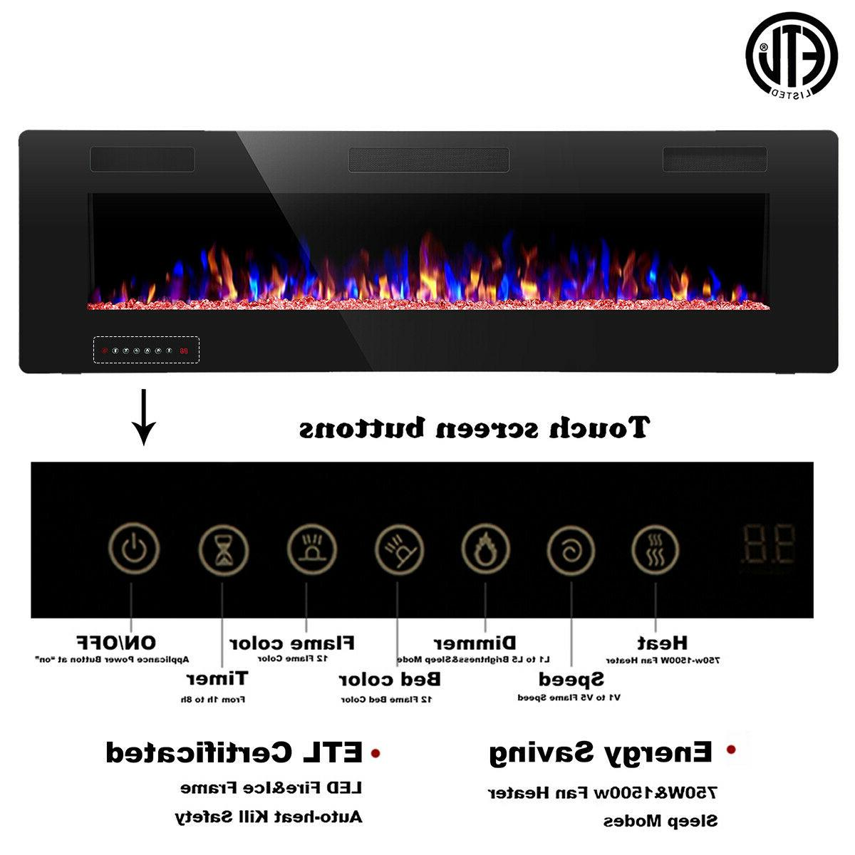 """60"""" Electric Fireplace,Recessed&Wall Mounted,Ultra Thin$Low"""